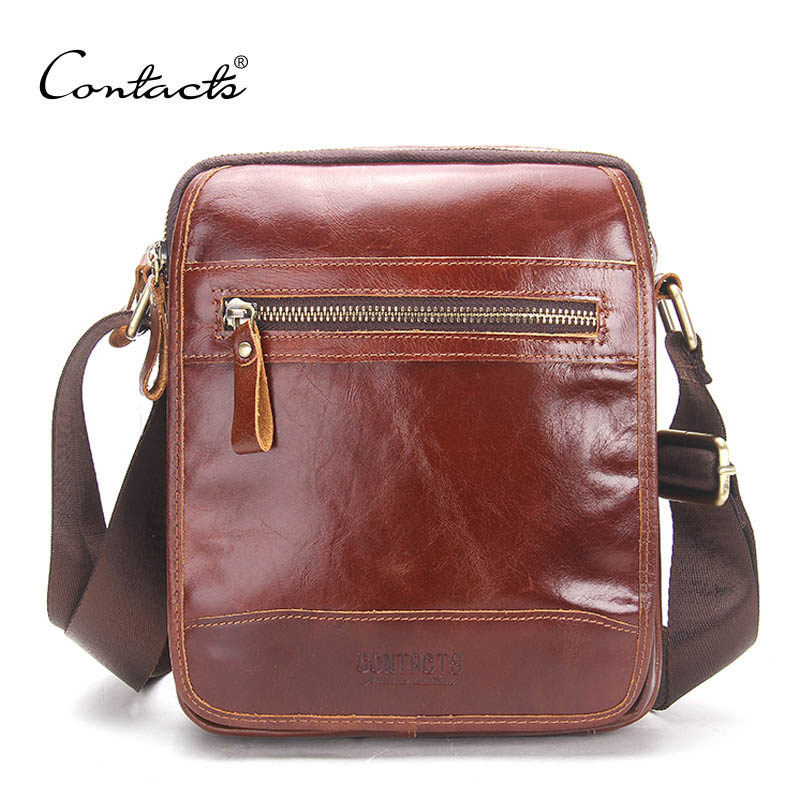 ФОТО CONTACT'S Men's Genuine Leather Messenger Bag 2017 New Crossbody Shoulder Bag For Men Business Fashion Fashion Travel Bags