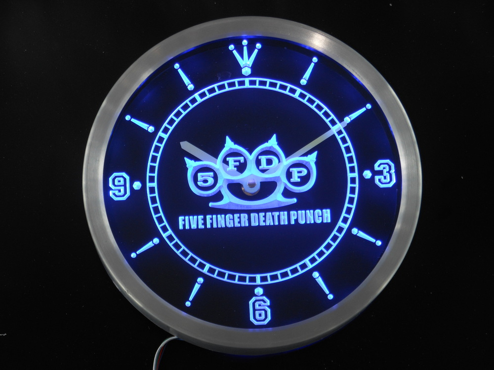 Finger nc0164 5FDP FIVE Finger Death Punch Enseigne Au Néon Horloge Murale LED