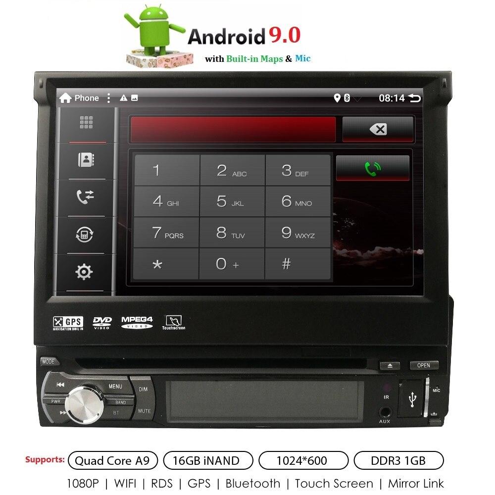 7 1 din Car Radio DVD GPS player Digital Touch screen Android 9.0 Multimedia player mirrorlink Autoradio SWC MIC BT Rear camera
