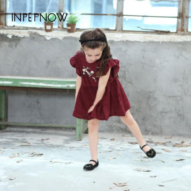 INPEPNOW 2019 Girls Dress Regular Clothing Red Floral  Ruffled Baby Kids Dresses for Girls Elegant Princess Costume LYQ-CZX58