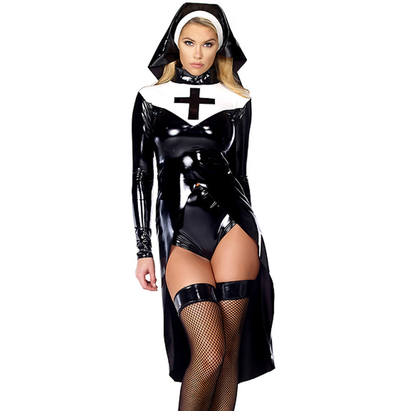 Sexy Wetlook Virgin Mary Nonnen Halloween Cosplay Kleidung Mode Schwarze Frauen Sexy Nonne Kostüm Vinyl Leder Cosplay Kostüm