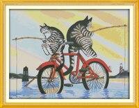Die angeln katzen, gedruckt gezählt auf stoff dmc 14ct 11ct kreuzstich kits, stickerei handsets wohnkultur