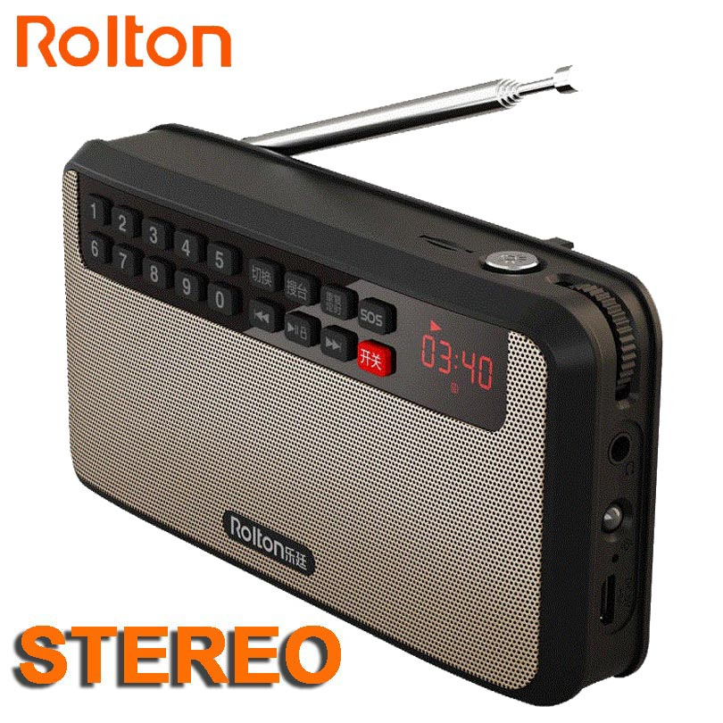 RoltonT60 MP3 Stereo Player Mini altoparlanti audio portatili Radio FM con schermo LED Supporto TF card Riproduzione musicale LED Torcia