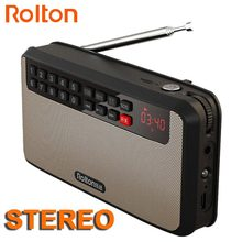 RoltonT60 reproductor de MP3 estéreo, Mini altavoces de Audio portátiles, Radio FM con pantalla LED, compatible con tarjeta TF, reproducción de música, linterna LED