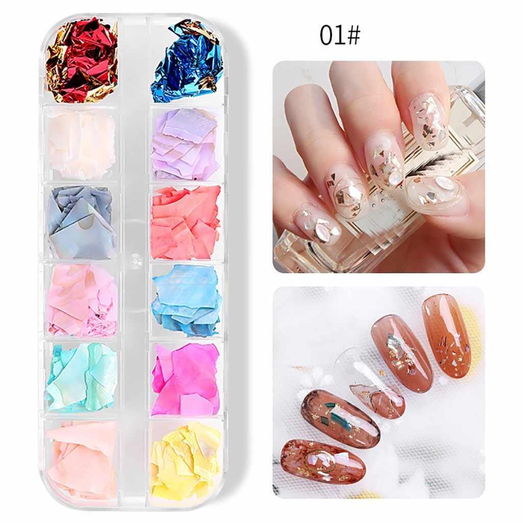 Ultra Dunne Natuurlijke Nagel Shell 12 Kleur Goud Zilver Folie Sticker Nail Accessoires DIY Nagels Stickers Decor adhesive Decals LD