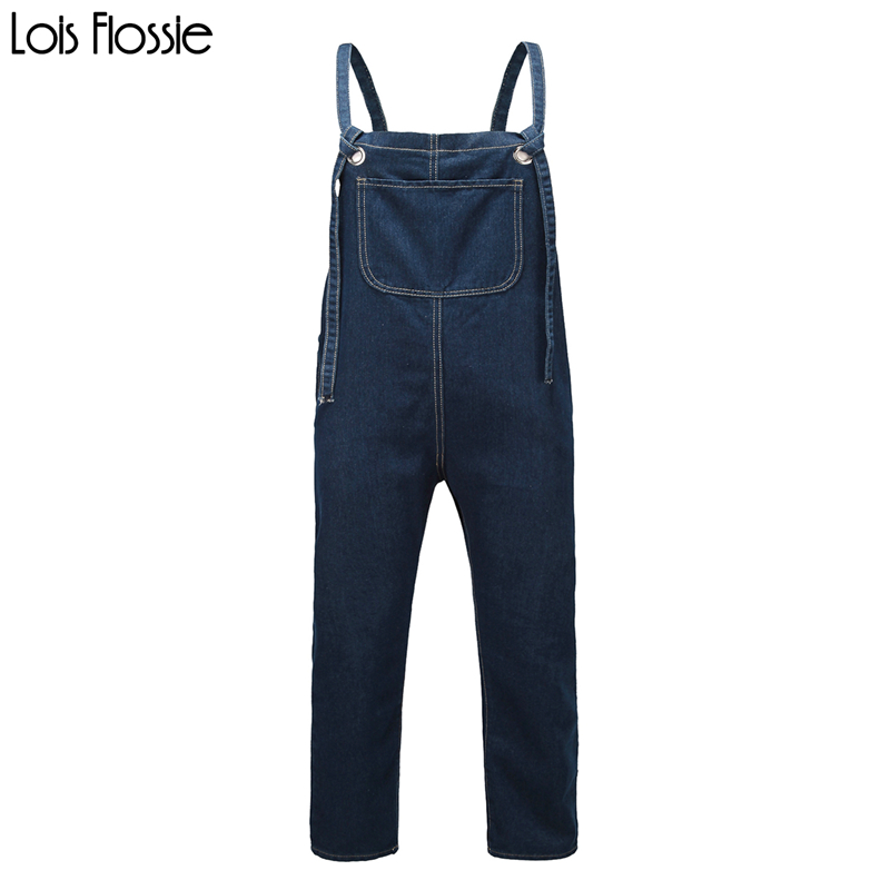 Basic loose blue denim tied suspender pants for women ladies casual large size oversized cotton overalls dungaree trousers