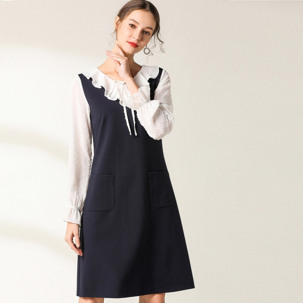 2019 Spring Ladies elegant fake two Dress Ruffled collar contrast color cultivating Dress casual vestidos plus