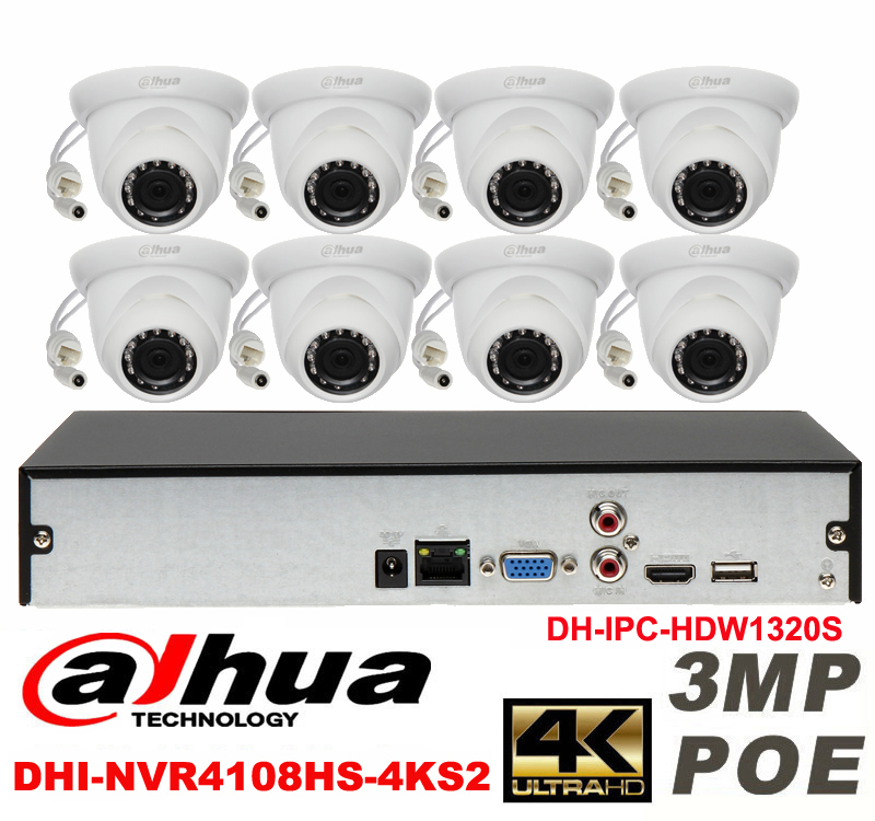 Dahua original 8CH 3MP H2 64 DH IPC HDW1320S 8pcs Network camera POE DAHUA DHI NVR4108HS