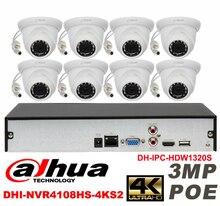 Dahua original 8CH 3MP H2.64 DH-IPC-HDW1320S 8pcs Network camera POE DAHUA DHI-NVR4108HS-4KS2 Dome IP CCTV security camera kit