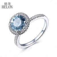 HELON Fine Jewelry 8mm Round Cut Blue Topaz Pave Natural Diamonds Ring Solid 10K White Gold