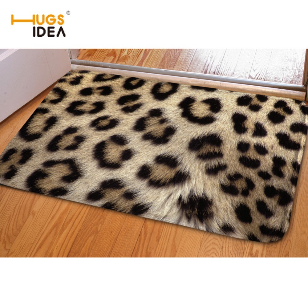 HUGSIDEA 3D Leopard Design Floor Carpet Europe Style Rugs Carpets for Living Room Kitchen Outdoor Entrance Doormat Alfombras
