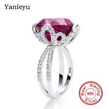 Yanleyu Luxury Wedding Band Rings for Women Big Red Gem Stone Crystal Engagement Ring 925 Sterling Silver Vintage Jewelry PR016 недорого