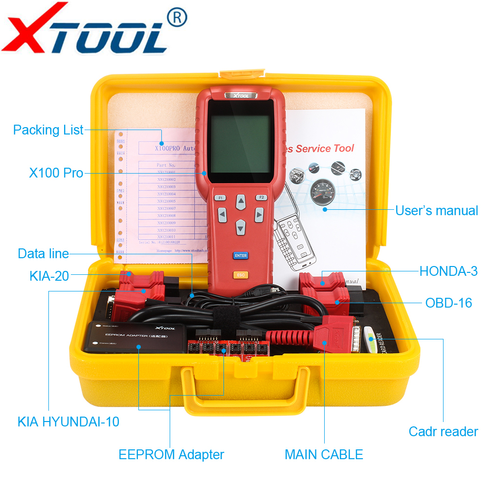XTOOL X100 Pro OBD2 Auto Key Programmer Mileage adjustment Including EEPROM Car Code Reader Free Update OBD II Diagnostic tool