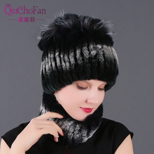 Winter 100% Real Rex Rabbit Fur Women Hat Scarf Sets Comfortable Warm Vintage Fur Casual Female Ladies Caps Scarves New Arrival kenmont new arrival brand winter hat 100