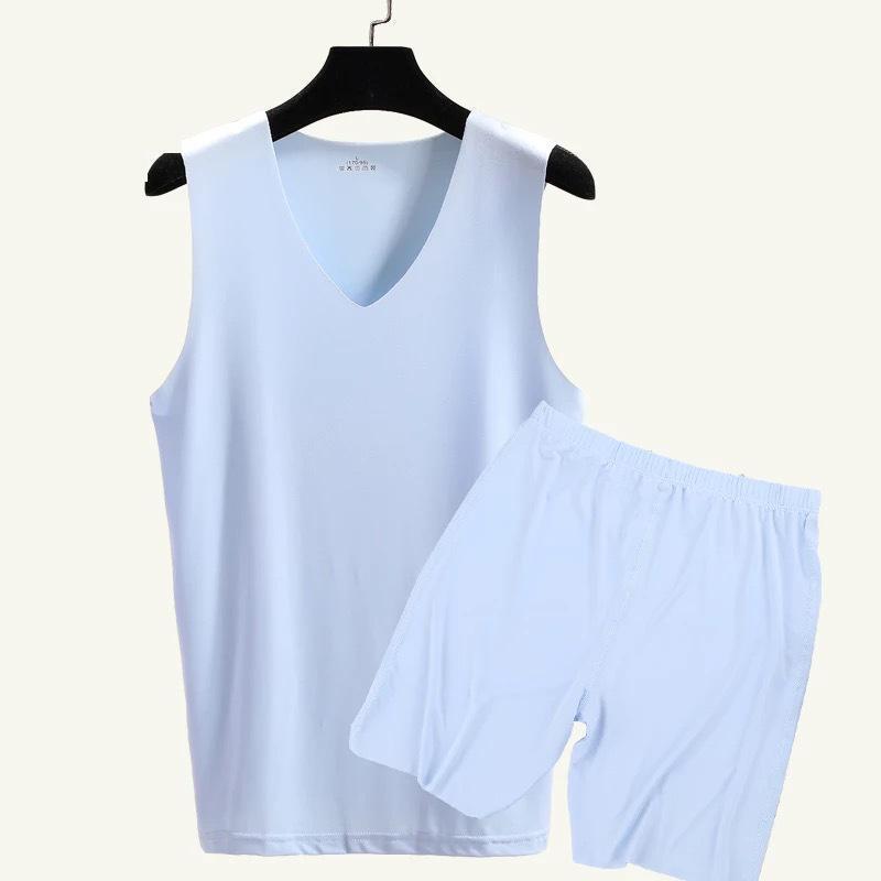 Men's Seamless V-neck Vest And Shorts 2 Piece Men's Casual Home  Nightwear Men 9636