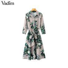 Vadim women vintage floral striped midi dress bow tie sashes long sleeve pleated female casual chic dresses vestidos QA178