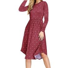 hot deal buy women dresses classical 2018 vintage polka dot pleated knee length long sleeve polka dot plus size female dress gothic korean