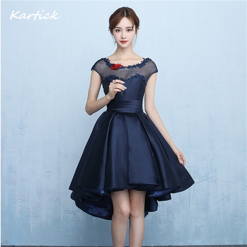 New Bridesmaid Dresses Elegant Navy Blue Bride Gown Sexy High Low Backless Ball Prom Party Homecoming/Graduation Formal Dress