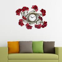 Aqumotic Kutego żelaza Czerwone kwiaty 3D butterfly zegar dekoracji Klasyczne draperie zegar Zakontraktowane i współczesnej