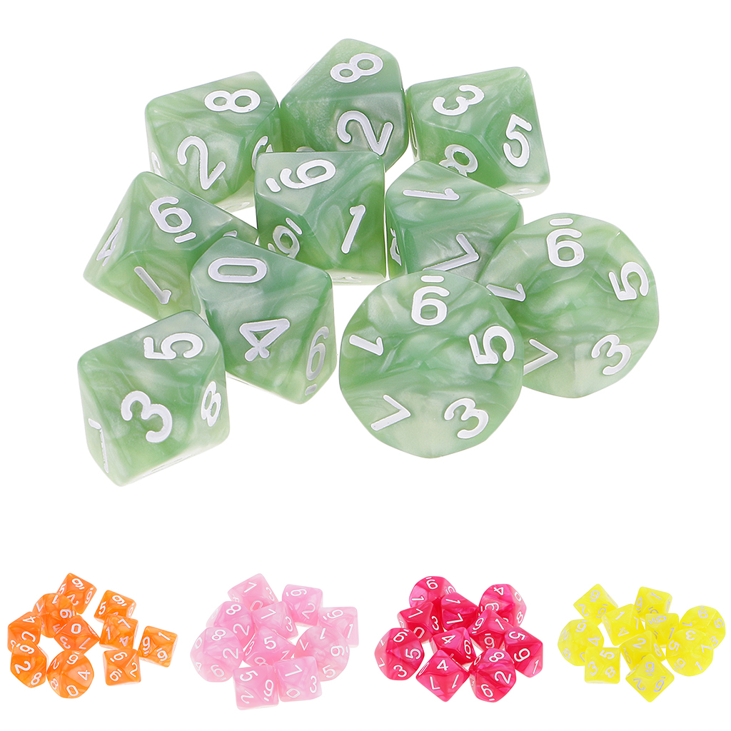 10pcs 10 Sided Dice D10 Polyhedral Dice For Dungeons And Dragons MTG RPG Game Lovers