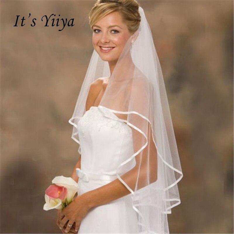 It's YiiYa 2017 New White Veus De Noiva Veils Two-Layer 1.5m Ribbon Edge Brides Veil Comb Luxury Wedding Accessories VTS-031
