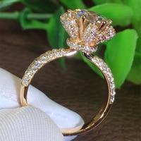 Размер 5 11 Новые Роскошные ювелирные изделия из стерлингового серебра 925 пробы и однотонный цвет розовое золото Потрясающие круглые прозрач