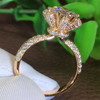 Size 5 11 Brand New Luxury Jewelry 925 Sterling Silver&Rose Gold Filled Stunning Round Clear Zirconia CZ Women Flower Ring Gift