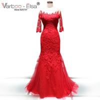 VARBOO_ELSA Robe De Mariee Elegant Tulle Red Wedding Dress 2018 Bridal Dress with Appliques Half Sleeve Mermaid Wedding Dress