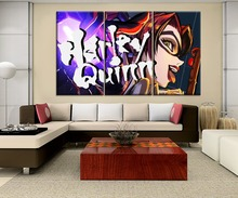 Movie Batman Ninja Harleen Quinzel Painting High Quality Canvas Printing Type Poster Home Decor Wall 3 Panel Modern Artwork