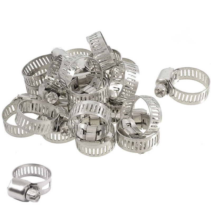 25-38mm Stainless Steel Adjustable Drive Hose Clamps Fuel Line Worm Car Clip 10pcs For Universal Car Use