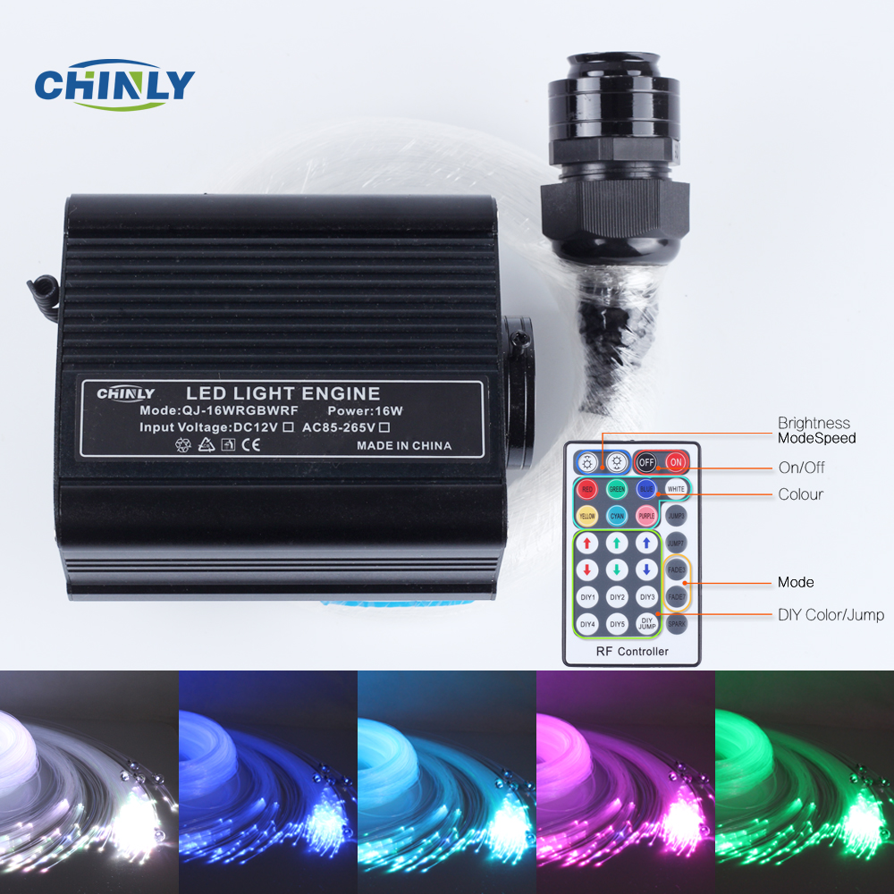 16W RGBW 28key RF remote LED Fiber optic light Star Ceiling Kit Lights2M(0.75mm+1.0mm+1.5mm)+crystal цена и фото