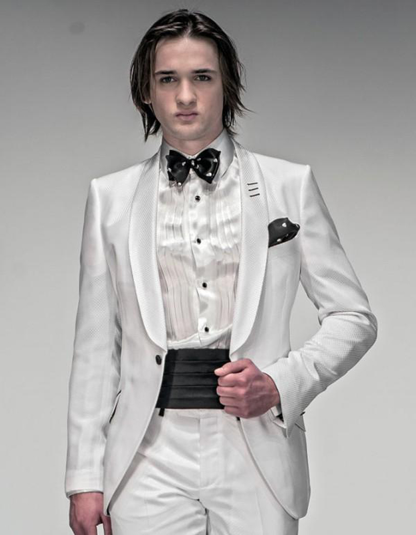 Fashion ivory mens tuxedos wedding suits for men 2017 for Mens ivory dress shirt wedding