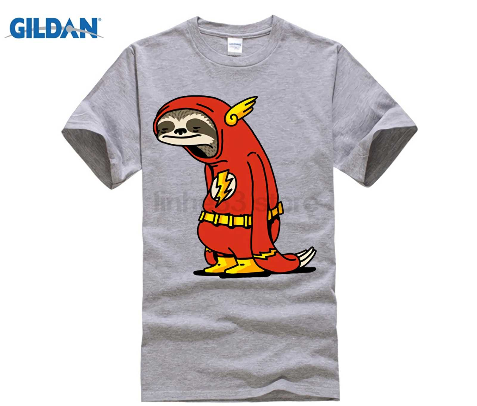 514f26ca ... Funny Sloth The Flash T shirts men The Neutral T-shirt male super hero  Red ...