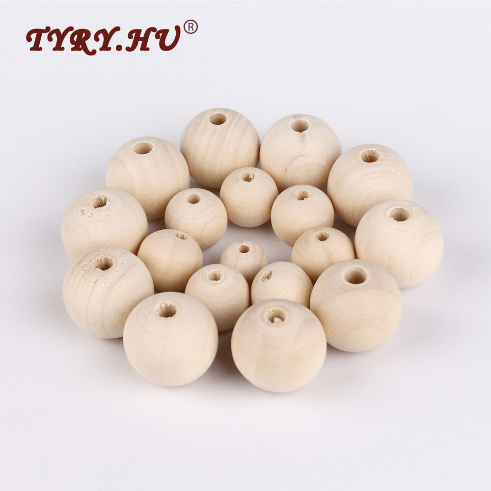 TYRY.HU DIY 50Pcs Wooden Beads Natural Ball Round Spacer 10-18mm Eco-Friendly Natural Color Wood Beads Lead-Free Wooden Balls
