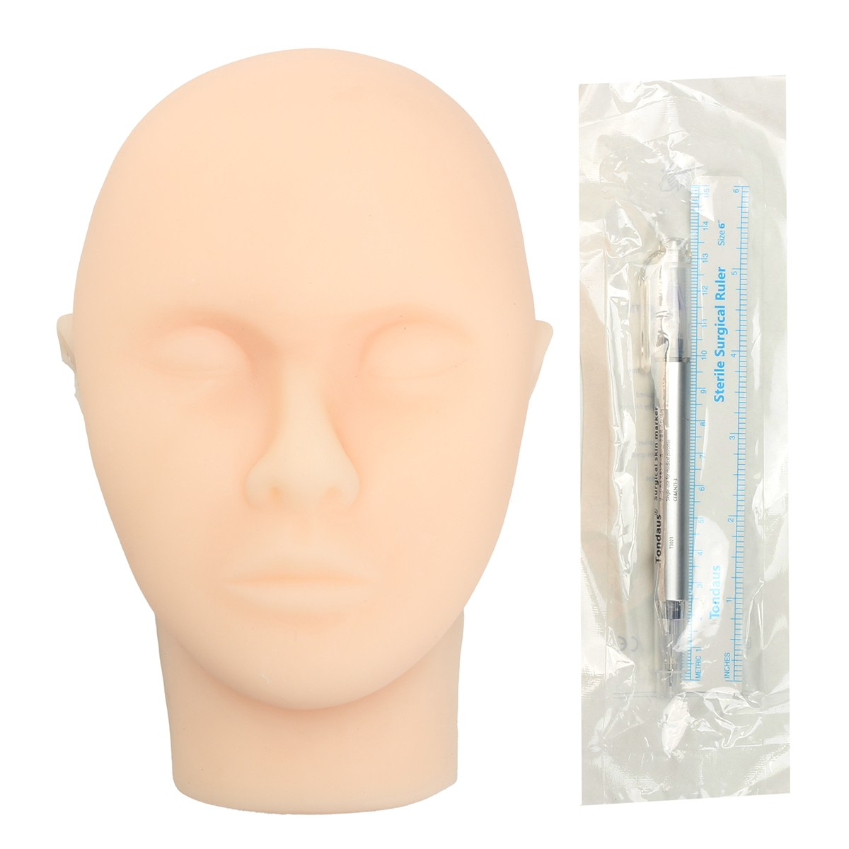Surgical Silicone Head Model Facial Injection Training Model With Marker Pen Measuring Ruler For Beauty Massage Tattoo Suture touchnew 60 colors artist dual head sketch markers for manga marker school drawing marker pen design supplies 5type