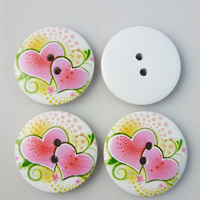 20PCS 30MM heart painting wooden 2-Holes buttons coat boots sewing clothes accessories MCB-202