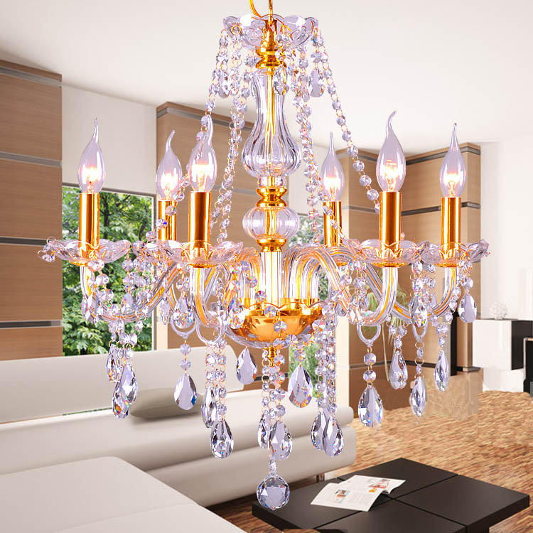 Gold Silver luxury fashion crystal Chandelier light Modern Luxury Top Grade Crystal candle crystal chandlier light source
