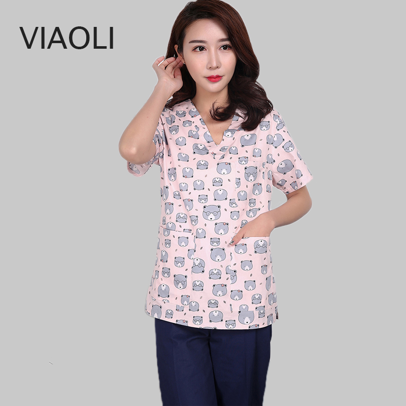 Surgical Clothing Cotton Printing Short Sleeve Washcloth Surgical Gown Pet Doctor Nurse Clothing Beauty Salon Clothing Coat Pink