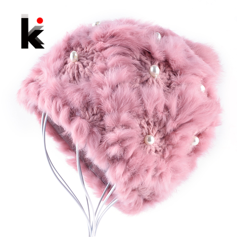 Winter Real Fur Knitted   Beanies   Hat For Women With Rabbit Fur PomPoms Female Pearl Caps Double Layer Thick Pink Fur Cap Ladies