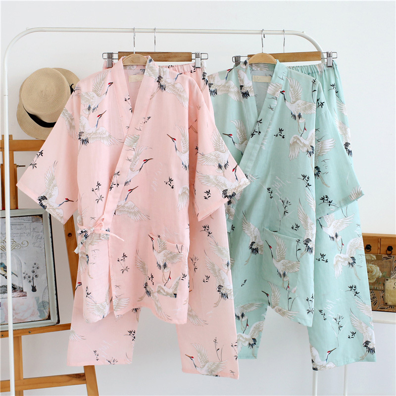 Family thin half sleeve Kimono Pajamas Sets cotton home clothing women Nightwear Suit long pants pyjamas women pijama feminino