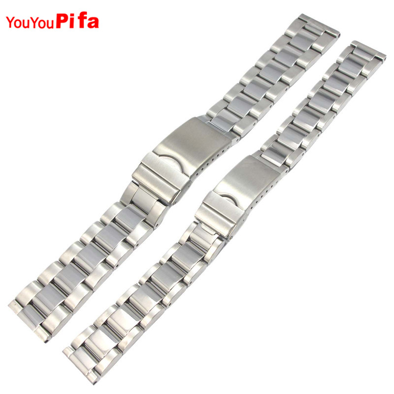 16mm 20mm Silver Solid Stainless Steel Watch Band Strap Folding Clasp with Safety Link For Men Women Wristwatch Band Replacement