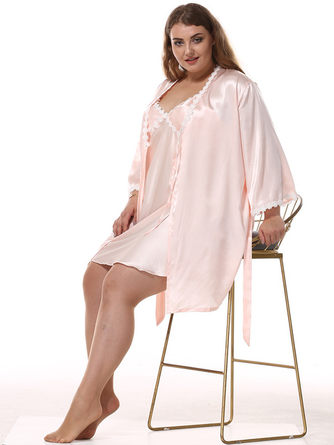 d9651146147e1 Sexy Women Robe Set Faux Silk Robe   Gown Sets Female Lace Satin Pajamas  Strap Night Dress Sleepwear 2 Pcs Lingerie Nightdress