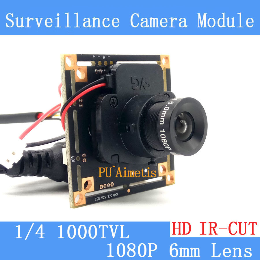1000TVL CMOS Security Camera PCB Board Module with 1080P 6mm Lens IR CUT Filter smar home security 1000tvl surveillance camera 36 ir infrared leds with 3 6mm wide lens built in ir cut filter
