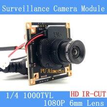 1000tvl CMOS безопасности Камера печатной платы модуль с 1080 P 6 мм объектив ИК-фильтр