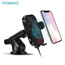 FDGAO автоматический автомобильное крепление Qi Беспроводной Зарядное устройство для iPhone XS X XR 8 10 W быстрая Беспроводной зарядки для samsung S9 S8 автомобильный держатель телефона