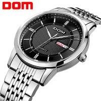 DOM Men Watch Top Luxury Men Quartz Analog Clock Leather Steel Strap Watches Hours Complete Calendar