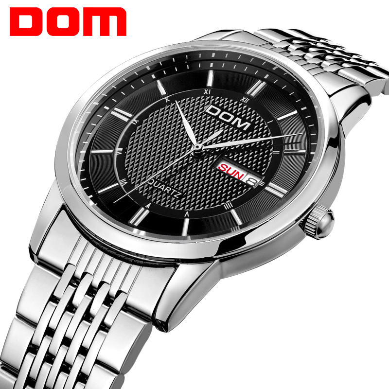 DOM men watch top Luxury Men Quartz Analog Clock Leather Steel Strap Watches hours Complete Calendar Relogios Masculino M-11 quartz watch mens luxury crocodile faux leather analog blu ray business wrist watches clock men relogios masculino best gift