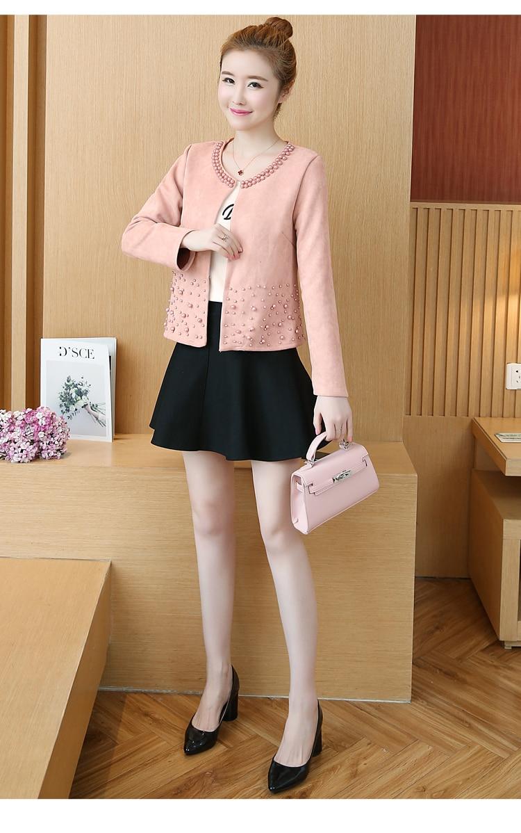 chaquetas mujer 2019 long sleeve autumn jacket women clothes plus size 4XL pink elegant beading outwear women jacket coat A295