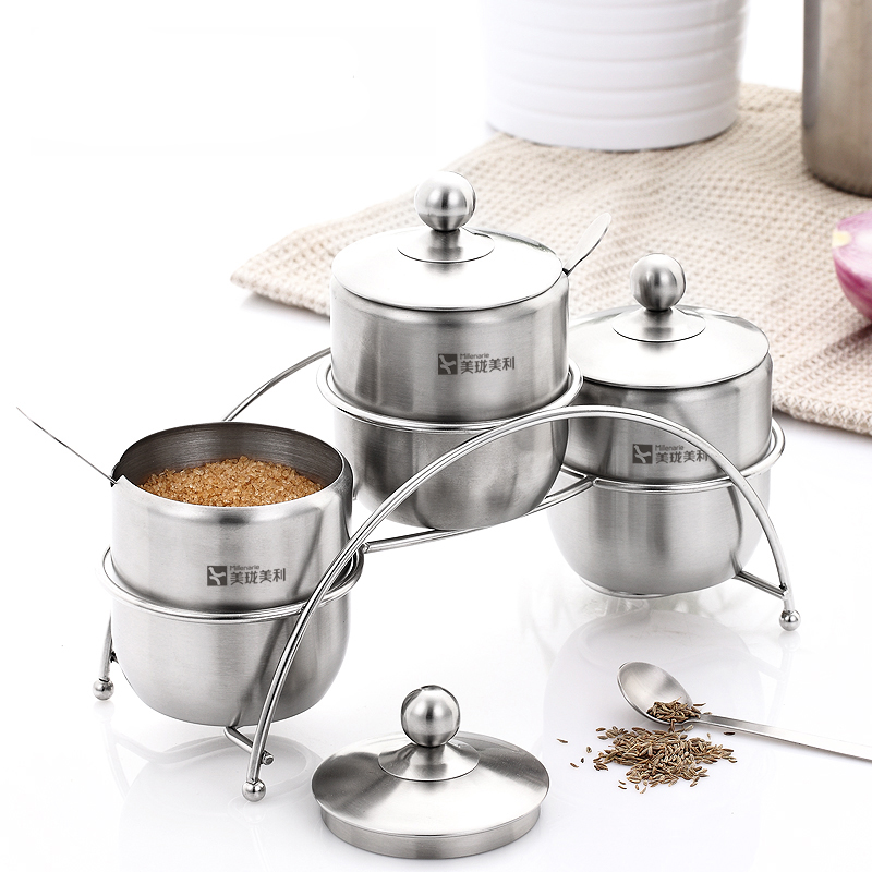 3pc Stainless Steel Condiment Spice Jar Seasoning Box with Lid Serving Spoon