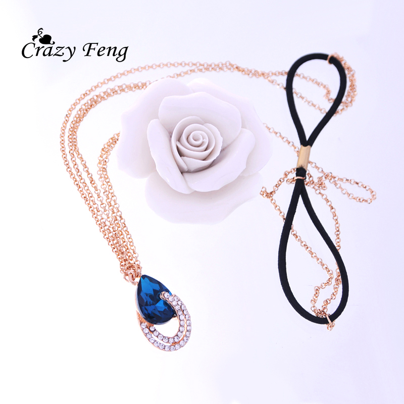New Trendy Hair Jewelry Rose Gold Color Beach Multi Layer Head Chain Crystal Pendant Charm Headband For Women Jewelry